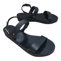 Ancient Greek Sandals Clio Womens Sz 8.5 Genuine Leather Black Sandals Straps Photo