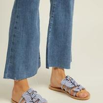 Ancient Greek Sandals  Hara Bow-Embellished Leather Slides Size 8 38 Pink Photo