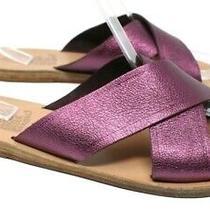 Ancient Greek Sandals Women 41 11 Purple Metallic Thais Slides Flat Leather Vguc Photo