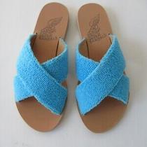 Ancient Greek Slides Sandals Flats Shoes Tan & Blue Thais Terry Summer Nib (37) Photo
