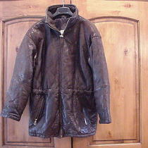 Andrew Marc Brown Quilted Leather Thermoloft Insulation Winter Moto Coat Xs S M Photo