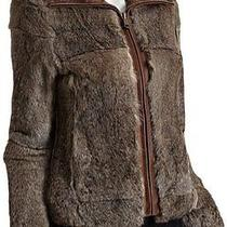 Andrew Marc Brown Rabbit Fur Leather Trim Jacket - Size L Photo