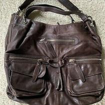 Andrew Marc Dk Brown Leather Tote Hobo Purse  Large 14 X 17 Photo