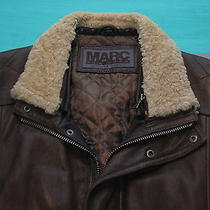 Andrew Marc G-1 Espresso Brown Leather Insulated Jacket Mens Xl Real Fur Trim Photo