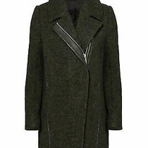 Andrew Marc Green Women's Size 2 Leather Trim Wool Notched Coat 595- 741 Photo