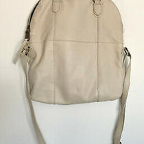 Andrew Marc Ivory Pebble Genuine Leather Flap Over Hobo Purse Photo