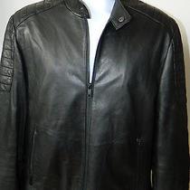 Andrew Marc Landon Leather Motorcycle Jacket Thermore Insulation Black Large  Photo