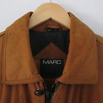 Andrew Marc Men's L Tan Leather Jacket Coat Insulated Drawstring Photo
