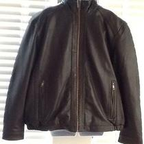 Andrew Marc Mens Brown Leather Jacket Quilted Lining Insulated X-Large Photo