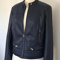 Andrew Marc New York Faux Leather Jacket Ladies Grey Blue Size Medium Pockets Photo