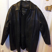 Andrew Marc New York Men's Black Leather Button Front Winter Coat Jacket Sz Med Photo