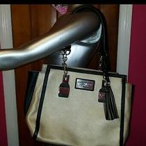 Andrew Marc New York Purse Handbag Beige Tan Cream Black Tassel Chainlink Handle Photo