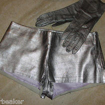 Andrew Marc Silver Leather Shorts Medium Ultra Short Space Age Stripper Sexy Photo