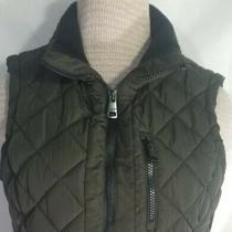 Andrew Marc Sz Small Quilted Puffer Vest Full Zip Black & Gray 3 Zip Pockets Euc Photo