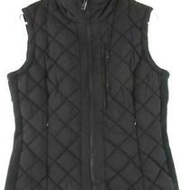 Andrew Marc Women's Black Quilted Vest Size Small Knit Ribbed Sides Pockets Photo