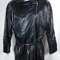 Andrew Marc Women's Soft Black Leather Exposed Off Center Zip Coat Jacket Sz S Photo