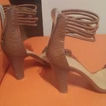 Andrew Stevens Alexis Croc-Embossed Strappy Ankle-Wrap Sandal Ginger Sz 7m Photo