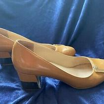 Andrew Stevens Tan Leather & Gold Buckle Pumps Women's Shoe Pump Gold Heel 8m Photo