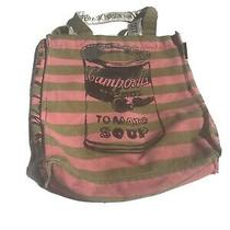Andy Warhol Campbell Soup Print Tote Bag  Green/pink Stripes Photo