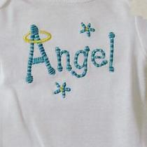 Angel Embroidered Onesie Bodysuit for Baby Size Newborn Aqua Design Photo