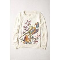 Angel of the North Anthropologie Faisan Embroidered Bird Cashmere Sweater L Photo