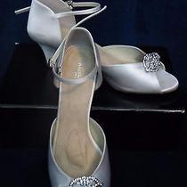 Angela Nuran Vintage Ivory Silk Swarovski Crystal 2.5 Heel Wedding Shoes 10 11 Photo