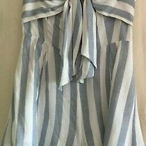 Angl Blue Blush's Striped Tie Front Strapless Romper Women's Size S Photo