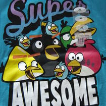 Angry Bird Ladies Tee Aqua With Super Awsome Angry Birds T-Shirt Size Xl Junior Photo