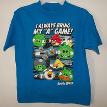 Angry Birds Short Sleeve Shirt Boys Size 7 Aqua Blue Red Yellow Birds Pigs New Photo