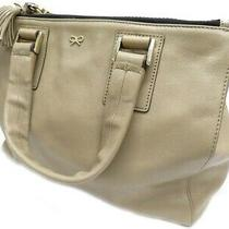 Aniya Wind March Anya Hindmarch Hand Bag Leather Beige Gold Brand Used Clothes Photo