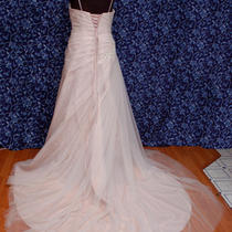 Anjolique 1051 Champagne Dark Blush Tulle Over Taffeta Wedding Dress 16 Nwt Photo