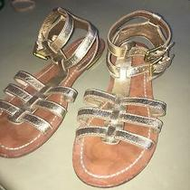 Ankle Strap Gladiator Sandals Casual Flats Leather Leather Gold Women 8.5b Photo
