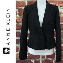 Ann Klein Solid Black Blazer Suit Jacket Womens Size 4 Small Photo