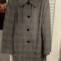 Ann Klein Stretch Wool Black White Houndstooth Jacket Size Medium Coat Classic Photo
