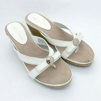 Ann Klein Women Wedge Heeled Leather Slip on Sandals 6.5 M Photo