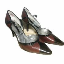 Ann Klein Womens Leather Pumps Heels Sz 8.5m Red Black Ankle Strap Pointed Toe Photo