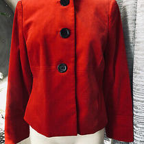 Ann Klein Womens Red Stretch Velvet With Collar Blazer Size 8 Free Shipping Photo
