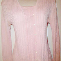 Ann Taylor 100% Silk Cable Knit Blush Pink Twin Set Cardigan Sweater Shell S M Photo