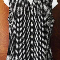 Ann Taylor 100% Silk Top With Mother of Pearl Buttons Small 4/6 Euc S Sleeveless Photo