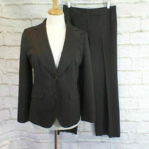 Ann Taylor 2pc Pant Suit Blazer Jacket Wool Dark Brown Striped Size 6 Photo