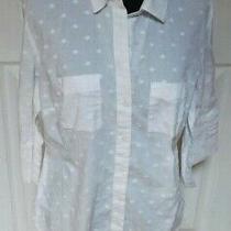 Ann Taylor 3/4 Sleeves White Slightly Raised Circles Blouse Shirt Size 10 Photo