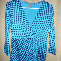 Ann Taylor Aqua & Navy Polka Dot  Knit v Neck Wrap  Top Blouse Sweater Womans S Photo