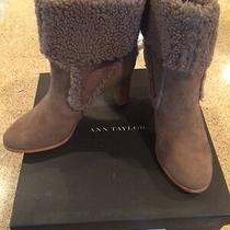 Ann Taylor Beige Suede Booties W/shearling Lamb - Size 8 - Brand New Photo