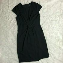 Ann Taylor Black Front Twist Sheath Dress Size 8 Faux Wrap Career J15 Photo