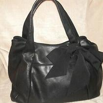 Ann Taylor Black Genuine Leather Shoulder Bag Xl Hobo Tote With Bow/ribon 1812