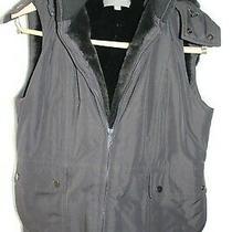 Ann Taylor Black Hooded  Lined Vest Sm Photo
