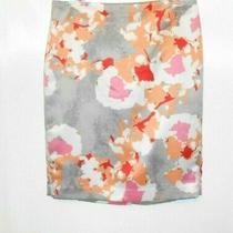 Ann Taylor Black Label Size 8 Pencil Skirt Gray Peach Pink Watercolor Print Photo