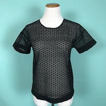 Ann Taylor Black Lace Top With Zip Back Size Xs  Photo