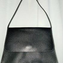 Ann Taylor Black Leather Handbag Purse Small Shoulder Bag Simple Minimalist Photo
