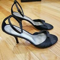 Ann Taylor Black Satin Peep Toe Rhinestone Ankle Strap Formal Pumps Heels Size 8 Photo